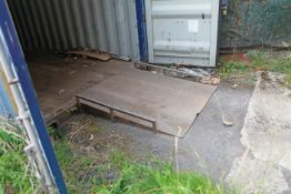 Steel chequer plate container loading ramp