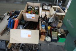 Oil Cans and tools and box of soldering irons and solder