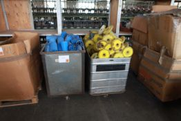 2 Tubs of textile machine plastic tubes and reels