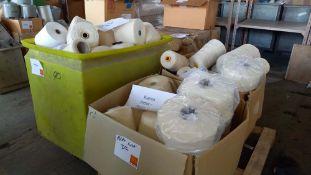 Tub & 2 cartons of cotton and cotton slub sample yarns
