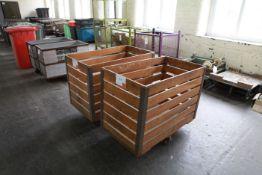 2 Slatted Timber Wheeled Carts