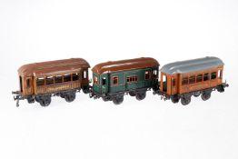 3 Bing Wagen, S 1, Chromlithographie, teilweise uralt und ÜL, nicht vollständig, L 23,5, Z 4