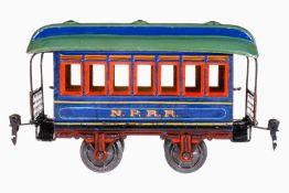 Märklin amerik. NPRR Personenwagen 1873, S 1, uralt, handlackiert, 2 AT, mit Inneneinrichtung,