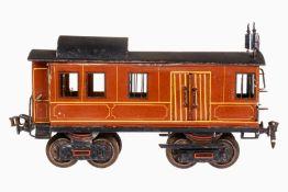 Märklin Gepäckwagen 1846, S 1, uralt, handlackiert, 2 AT, 2 DT, 4A, mit Inneneinrichtung und