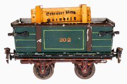 Märklin Rübenwagen 1832, S 1, uralt, grün HL, Bordwände abklappbar, leichte Alterungs- und