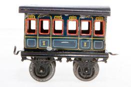 Bing Personenwagen, S 1, uralt, blau CL, Achslagerblenden fehlen, Lackschäden, L 12, Z 2-3