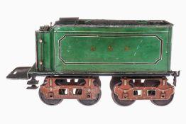 """Märklin englischer 4A-Tender H 1801, S 3, """"GNR"""", uralt, handlackiert, mit Speisewasserbehälter und 2"""