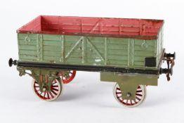 Bing offener Güterwagen 8403, S 4, Spurweite 75 mm, uralt, handlackiert, 2 Achslager und Radsätze