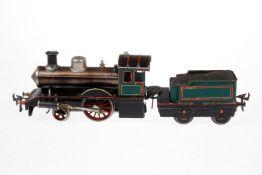 Bing 1-A Dampflok, S 1, uralt, spiritusbetrieben, handlackiert, mit Tender und Brenner,