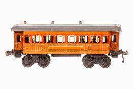 Bing Personenwagen, S 1, uralt, Teak CL, mit Inneneinrichtung, 4 AT, 4A, mit Innenbeleuchtung und