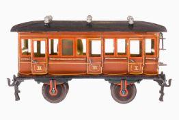 Märklin Abteilwagen 1856, S 1, uralt, braun HL, mit Inneneinrichtung, 6 AT, 6 imit. Lüfter,