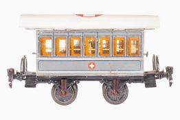 Märklin Sanitätswagen 1828, S 1, uralt, handlackiert, 2 AT, mit Inneneinrichtung und 8 Tragbahren,