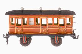 Märklin Abteilwagen 1856, S 1, uralt, braun HL, mit Inneneinrichtung, 6 AT, 2A Gussräder, 6 imit.