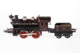 Bing B-Dampflok, S 1, Starkstrom, schwarz, mit Tender und 1 el. bel. Stirnlampe, teilweise