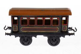 Bing Personenwagen, S 1, uralt, blau CL, Lackschäden und gealterter Lack, L 19,5, sonst noch Z 2