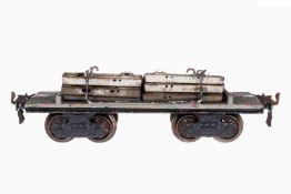 Märklin Schwellenwagen 1896 B, S 1, uralt, handlackiert, 4A, beladen mit Schwellen, Alterungs- und