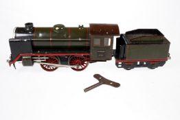Märklin B-Dampflok R 921, S 1, Uhrwerk intakt, grün/schwarz, mit Tender, kW und 2 imit. Stirnlampen,