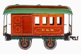Märklin amerik. PRR Packwagen 1876, S 1, uralt, handlackiert, 2 ST, 2AT, mit Inneneinrichtung, 1