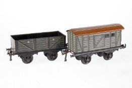 2 Bing Güterwagen, S 1, Chromlithographie, Lackschäden, L 19,5, Z 3