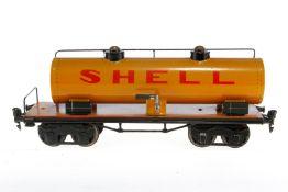 Märklin Shell Kesselwagen 1954, S 1, handlackiert, Lackschäden und gealterter Lack, L 31,5, sonst