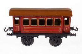 Bing Personenwagen, S 1, uralt, rot CL, Lackschäden und gealterter Lack, L 19,5, sonst Z 2