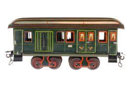 Märklin Post-/Gepäckwagen 1844, S 1, uralt, handlackiert, 2x2 ST, 2x2 DT, 4 AT, 4A Gussräder ohne