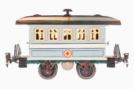 Märklin Sanitätswagen 1828, S 1, uralt, handlackiert, mit Inneneinrichtung, 4 Tragbahren, 4