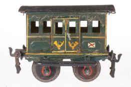 Märklin Postwagen 1802, S 1, uralt, handlackiert, 2 DT, starke Alterungs- und Gebrauchsspuren, 2