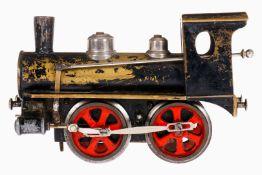 Märklin Prototyp B-Dampflok, S 1, uralt, Versuchsmuster aus Messing, nur vorwärts, Uhrwerk zäh,