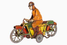Kellermann Motorrad Nr. 219, mit Fahrer, uralt, CL, Uhrwerk intakt, tw Roststellen, farbig lit., L