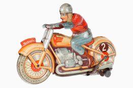 Technofix Motorrad mit Fahrer Nr. 255, CL, Uhrwerk intakt, Alterungsspuren, tw RS, L 18, noch Z 2