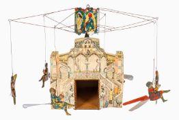 Cardini Karussell Nr. 57, mit 6 Gondeln und Mädchen, CL, OK als Aufgang mit Kassenhaus, Uhrwerk