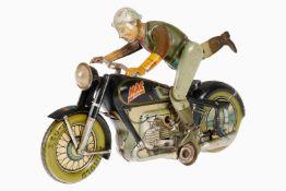 Arnold Motorrad mit Fahrer Mac 700, mit Auf- und Absteigendem Fahrer, CL, Uhrwerk intakt, leichte