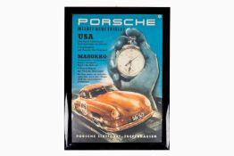 "Gerahmtes Porsche Plakat, Entwurf: Strenger ""Neue Erfolge USA Marokko"", L 49, H 69"