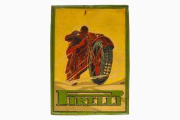 Pirelli Werbeschild, Blech, geprägt, uralt, signiert Bassi, tw RS, farbl. rest., L 48, H 64