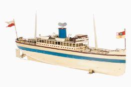 Fleischmann Passagierdampfer, HL, Uhrwerk intakt, mit 2 Masten, 4 Rettungsbooten und 2 Fahnen, 1