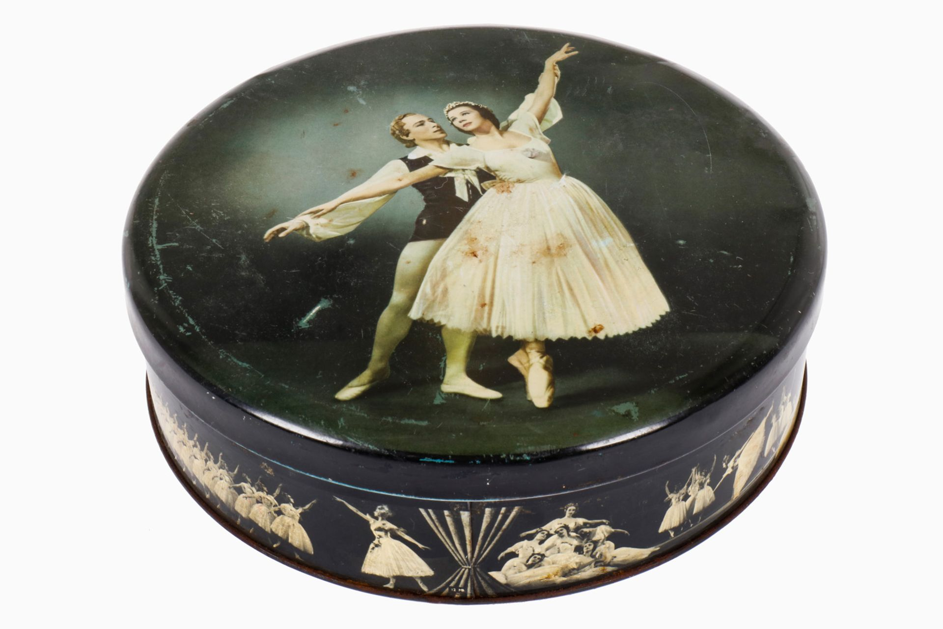 Blechdose mit Tanzpaar, Blech, CL, Alterungsspuren, D 21, Z 2
