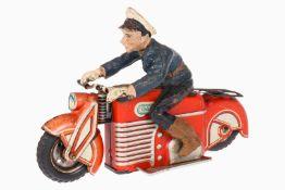 Gama Blechmotorrad mit Massepolizist Nr. 26, CL, Schwungradantrieb, gummibereift, Alterungsspuren, L