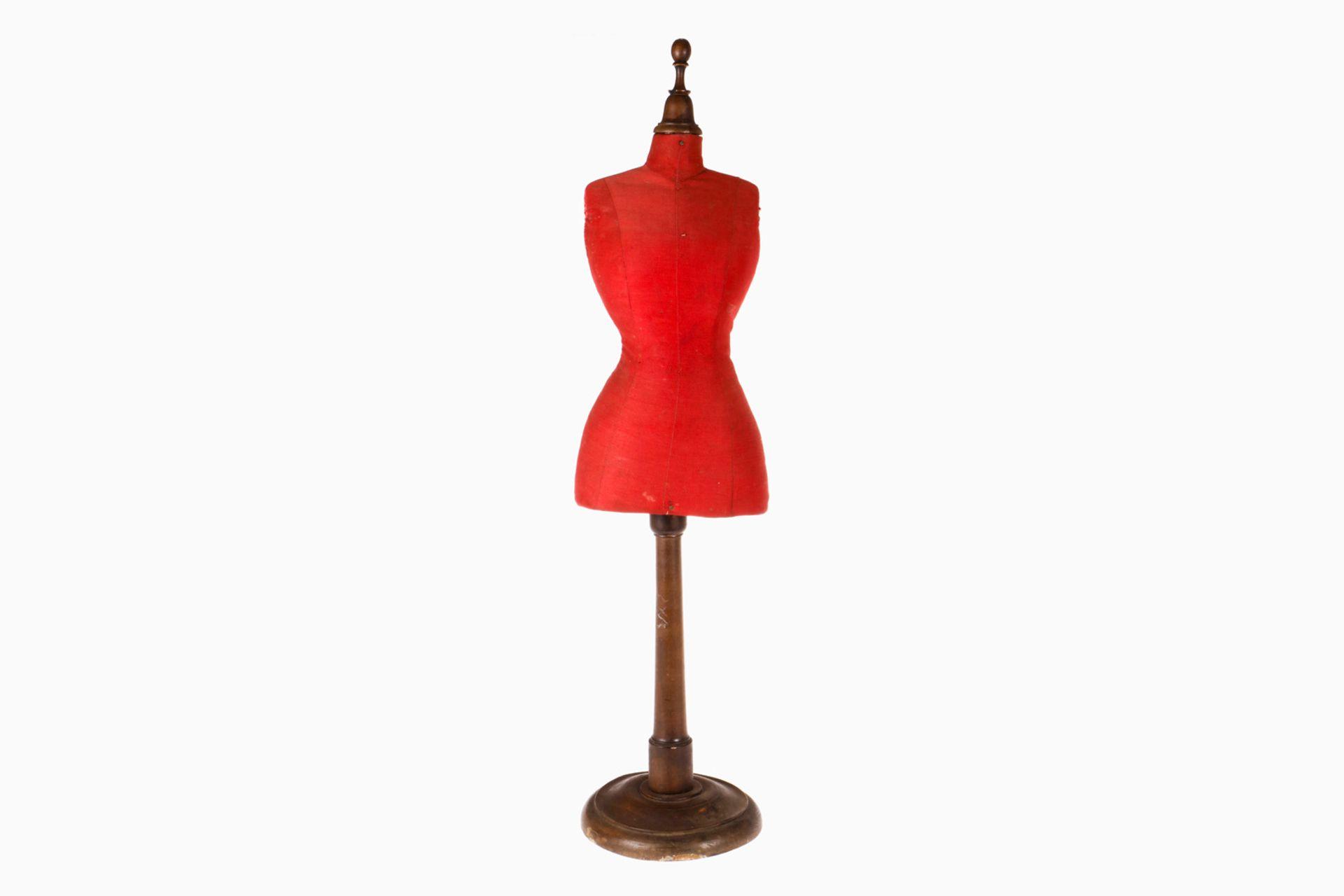 Modebüste auf gedrechseltem Ständer, stoffbezogen, H 70