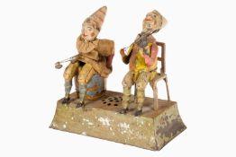 2 musizierende Clowns, wohl Günthermann, uralt, HL, Uhrwerk mit Musikwerk intakt, spröder Lack, tw