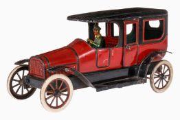 Bub Limousine, uralt, CL, mit Fahrerfigur und 2 Türen zum Öffnen, Uhrwerk def., Motorabdeckung und