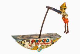 """Marx """"Pinocchio The Acrobat!"""", CL, Uhrwerk def., Alterungs- und Gebrauchsspuren, tw RS, L 28, Z 2-3"""