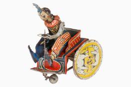 G&K Clown auf Karre Nr. 504, uralt, CL, Uhrwerk intakt, Alterungs- und Gebrauchsspuren, H 16, noch Z