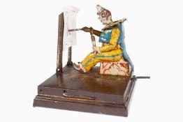 Automat zeichnender Clown, uralt, CL, intakt, mit 1 Schablone, tw RS, L 12, Z 3