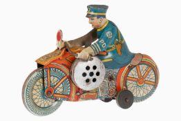 Marx Motorrad mit Polizist als Fahrer, CL, Uhrwerk mit Sirene intakt, Alterungsspuren, kleine RS,
