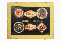 Handgemalter Entwurf von verschiedenen Auto- und Autoclubplaketten, Fiat 509/514/520/521 C, signiert