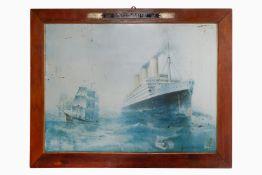 Bedruckte Blechtafel, Werbeschild der Hamburg-Amerika Linie, mit Abbildung der S.S. Imperator