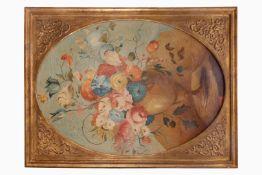 BlumenStillleben, 19. Jh., Öl/Leinen, in vergoldetem Stuckrahmen, Oberfläche leicht rissig, 1
