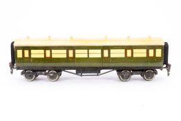 Leeds Model Personenwagen 4526 SR, S 0, Holz/Blech, grün, LS und Alterungsspuren, L 33, Karton, Z 3