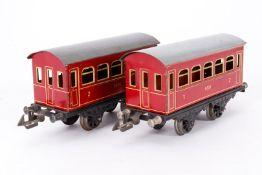 2 Personenwagen 5551, S 0, rot, LS, L 17, Z 3